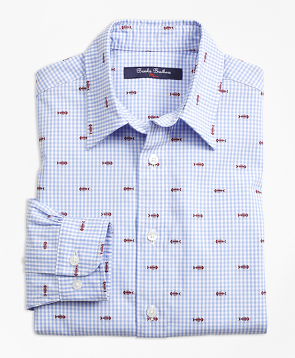Cotton Gingham Sport Shirt with Fishbone Embroidery