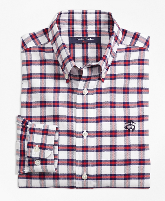 Non-Iron Supima® Cotton Check Sport Shirt Red-Navy