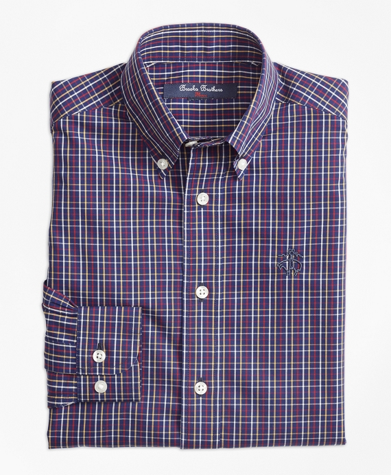 Non-Iron Windowpane Tattersall Sport Shirt Navy-Multi