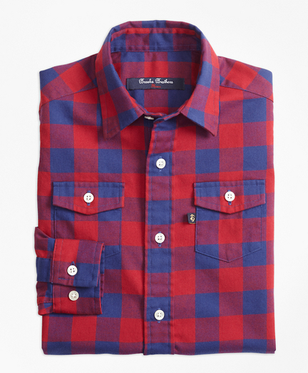 Two Tone Plaid Flannel Sport Shirt
