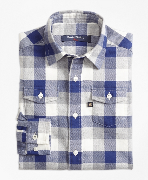 Multiplaid Flannel Sport Shirt