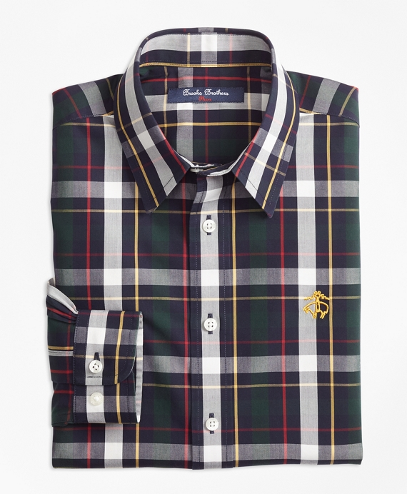 Non-Iron Bold Plaid Sport Shirt Green-Multi