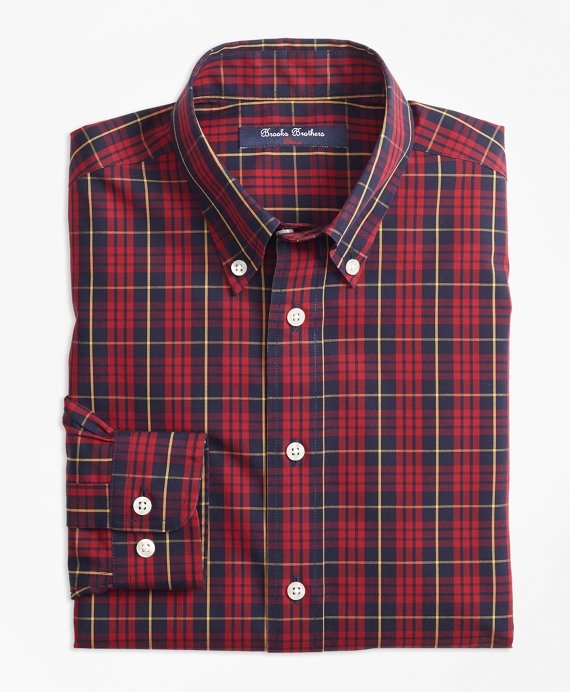 Non-Iron Holiday Plaid Sport Shirt Red-Multi