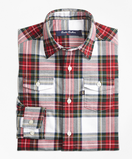 Stewart Plaid Flannel Sport Shirt