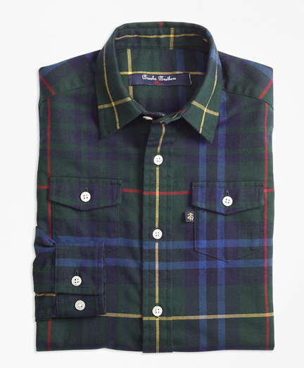 Stewart Hunting Plaid Flannel Sport Shirt