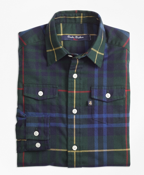 Stewart Hunting Plaid Flannel Sport Shirt Green-Multi