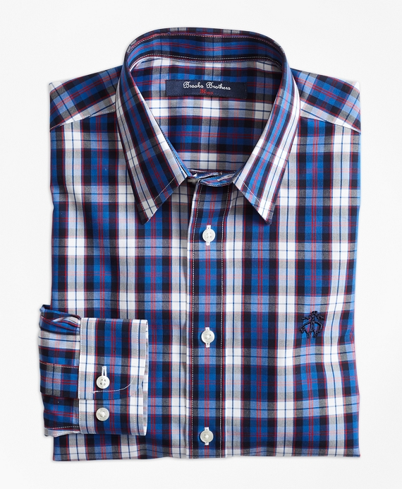 Non-Iron Bold Plaid Sport Shirt Blue-Red