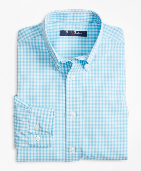 Non-Iron Gingham Sport Shirt Light Blue