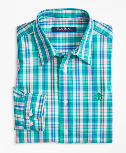 Non-Iron Bright Plaid Sport Shirt