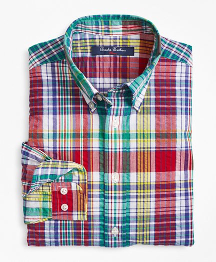 Cotton Madras Seersucker Sport Shirt