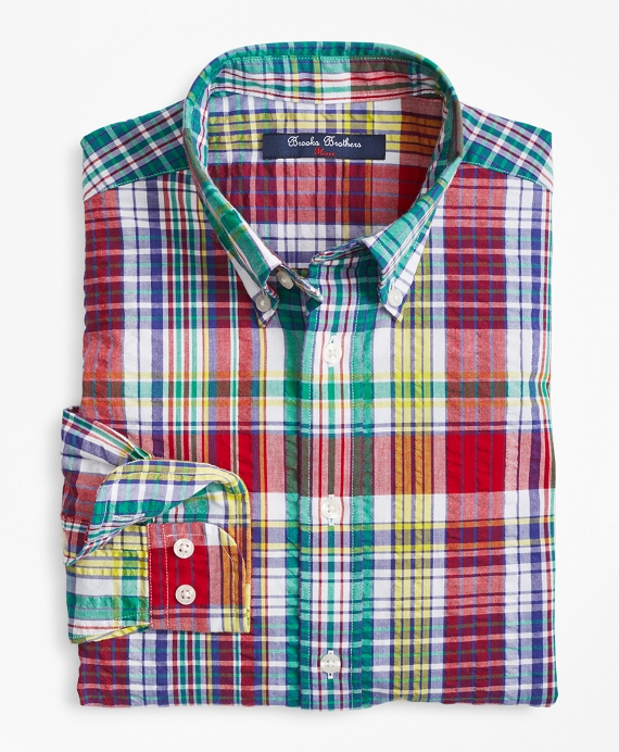 Cotton Madras Seersucker Sport Shirt Multi