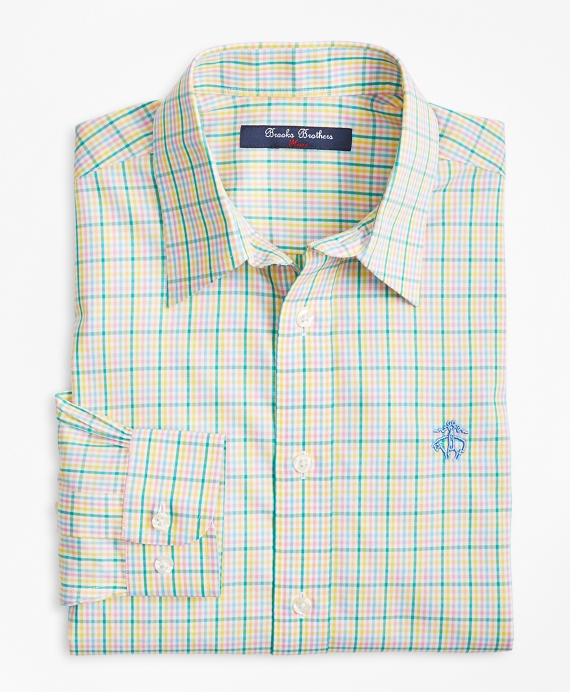 Non-Iron Madras Sport Shirt Green-Multi