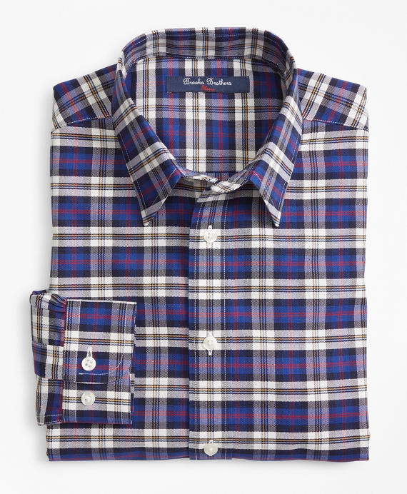 Non-Iron Supima® Cotton Plaid Sport Shirt Navy