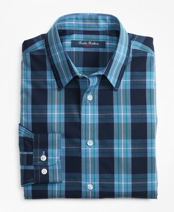 Non-Iron Outlined Plaid Sport Shirt Blue