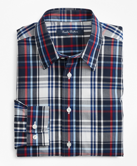 Non-Iron Plaid Sport Shirt Navy-Multi