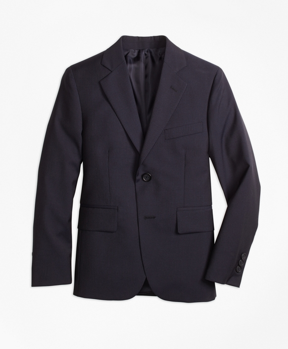Two-Button Wool Pinstripe Jacket Navy