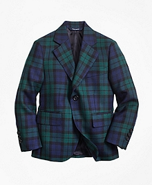 Two-Button Black Watch Wool Suit Jacket