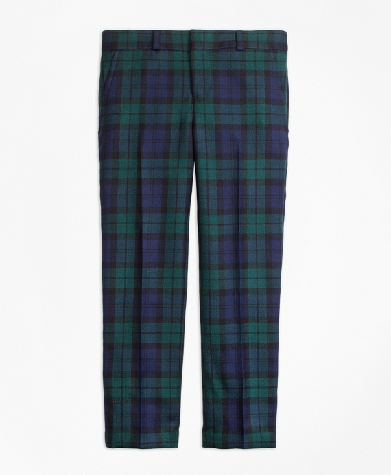 Flat-Front Black Watch Suit Trousers Green-Navy