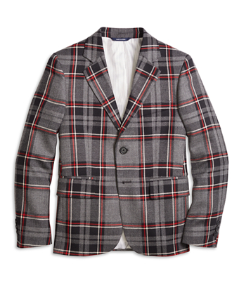 Two-Button Plaid Wool Suit Jacket