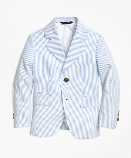 Two-Button Seersucker Junior Jacket