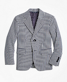 Two-Button Seersucker Gingham Sportcoat