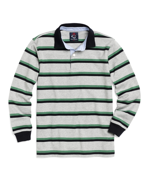 Cotton Long-Sleeve Double Stripe Rugby Grey-Navy-Green