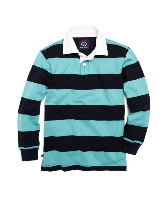 Long-Sleeve Striped Rugby Navy-Aqua