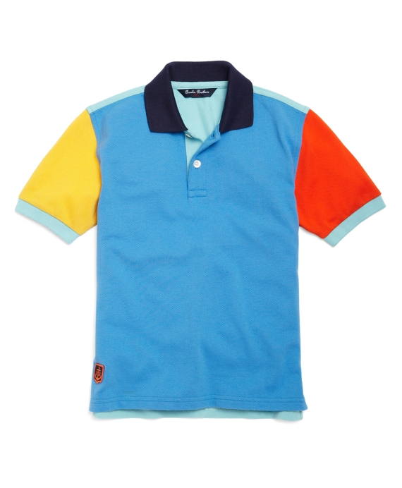 Color-Block Pique Polo Blue-Yellow-Orange