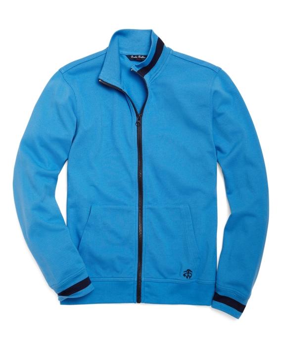 Full-Zip Pique Mockneck Blue
