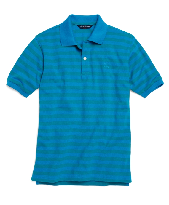 Short-Sleeve Striped Pique Polo Blue-Teal