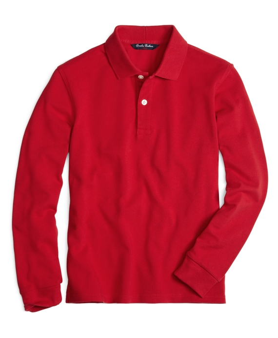 Long-Sleeve Polo Shirt Red
