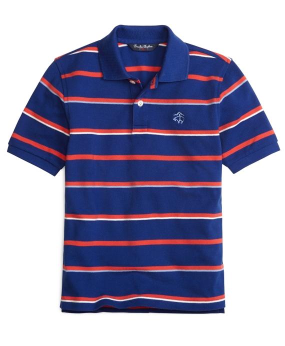 Alternating Stripe Polo Shirt Blue