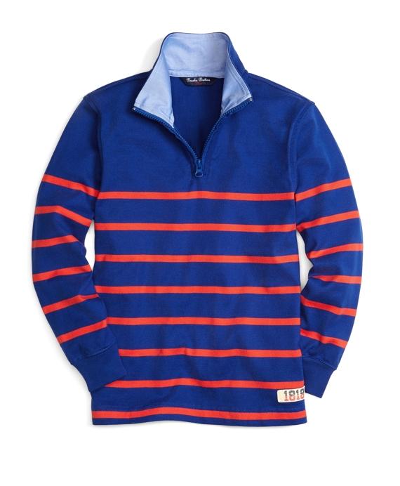 Half-Zip Stripe Rugby Blue