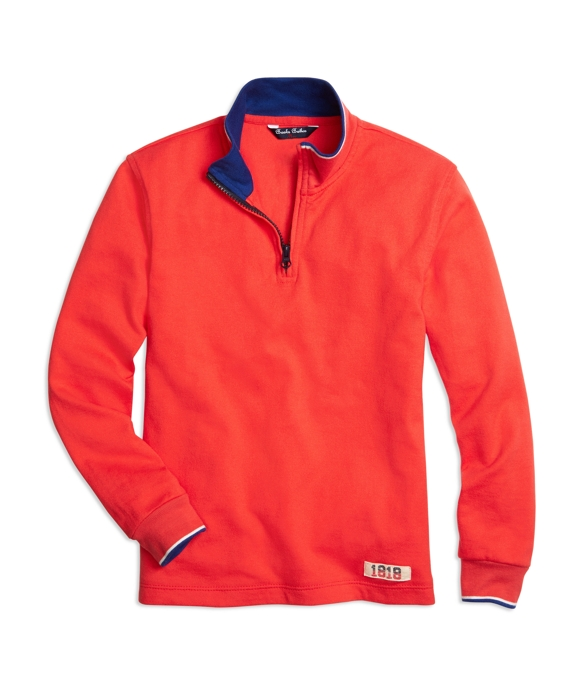 Half-Zip Solid Rugby Red