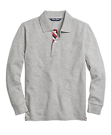 Long-Sleeve Pique Polo