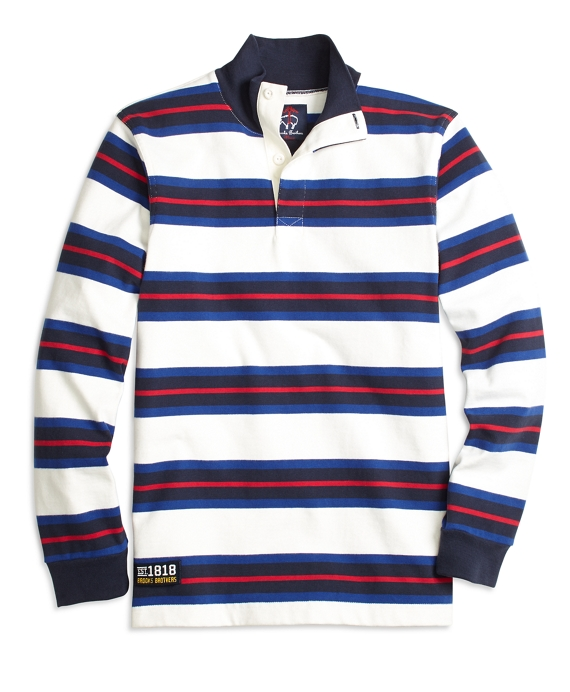 Variegated Stripe Cotton Rugby White-Navy