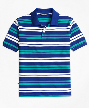 Double Stripe Pique Polo