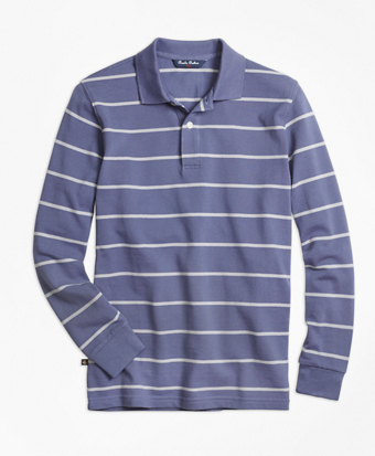 Long-Sleeve Stripe Polo Shirt