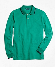 Long-Sleeve Cotton Tipped Polo Shirt
