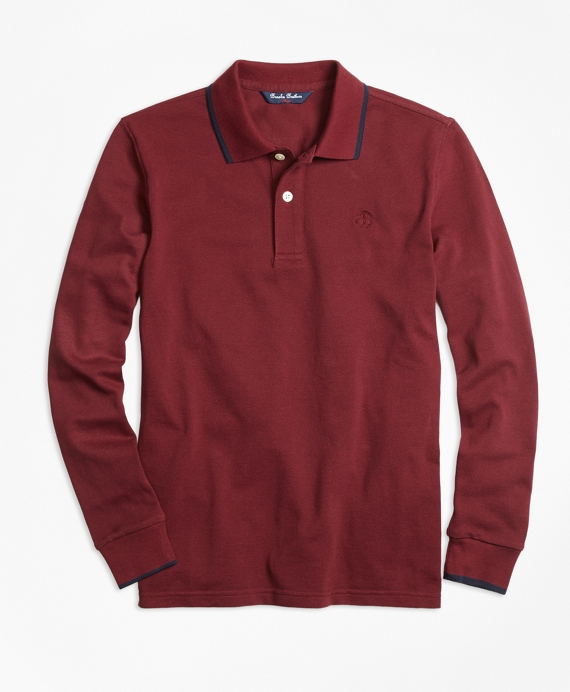 Long-Sleeve Cotton Tipped Polo Shirt Burgundy