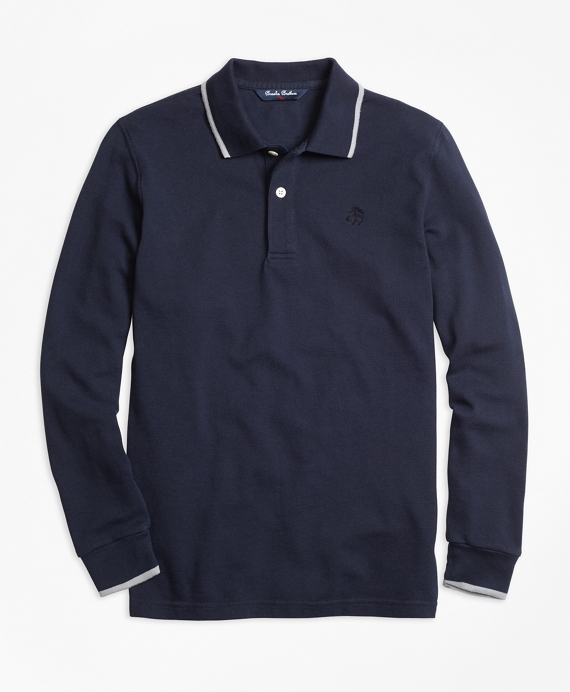 Long-Sleeve Cotton Tipped Polo Shirt Navy