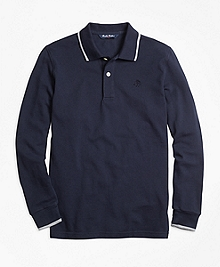 Long-Sleeve Cotton Tipped Polo