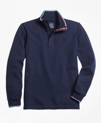 Novelty Tipped Mockneck Rugby