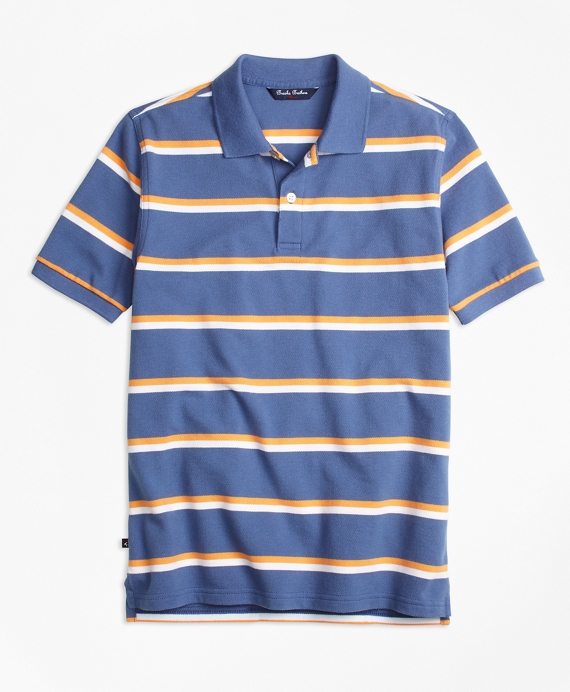 Double Stripe Pique Polo Shirt Blue