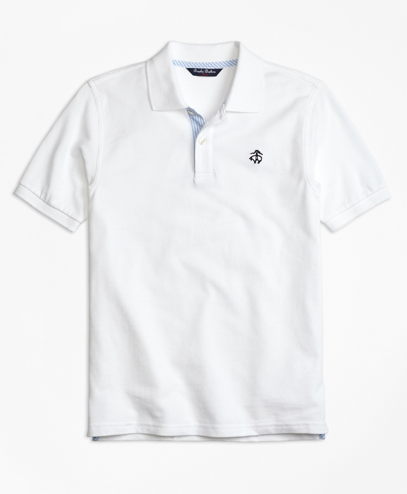 Oxford Trim Pique Polo Shirt White