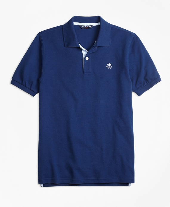 Oxford Trim Pique Polo Dark Blue