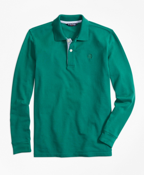 Long-Sleeve Cotton Pique Polo Shirt Dark Green
