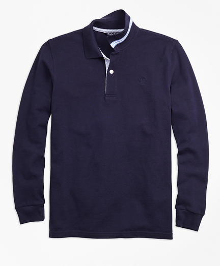 Long-Sleeve Cotton Pique Polo Shirt