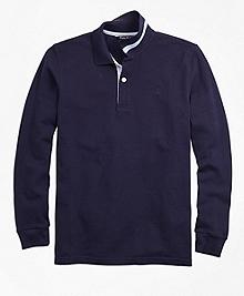 Long-Sleeve Cotton Pique Polo Shirt