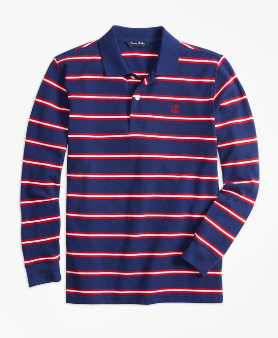 Long-Sleeve Cotton Stripe Pique Polo Shirt Dark Blue